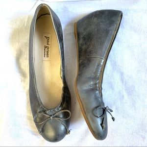 Paul Green Rave silver wedge ballet shoes US 7